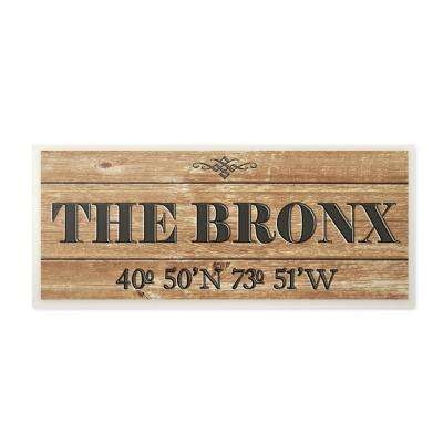 """7 in. x 17 in. """"Plank City Coordinates The Bronx"""" by Daphne Polselli Printed Wood Wall Art"""