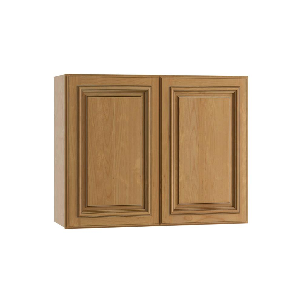 Clevedon Assembled 30x24x12 in. Double Door Wall Kitchen Cabinet in Toffee