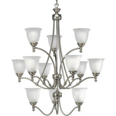 Renovations 12-Light Antique Nickel Chandelier with Etched Glass
