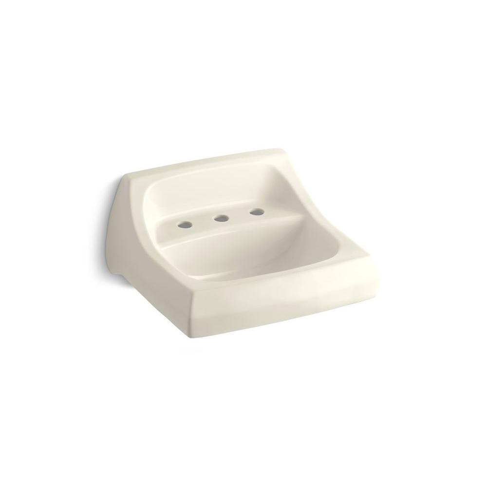 Kohler Kingston Wall Mount Vitreous China Bathroom Sink In Almond With Overflow Drain K 2006 47