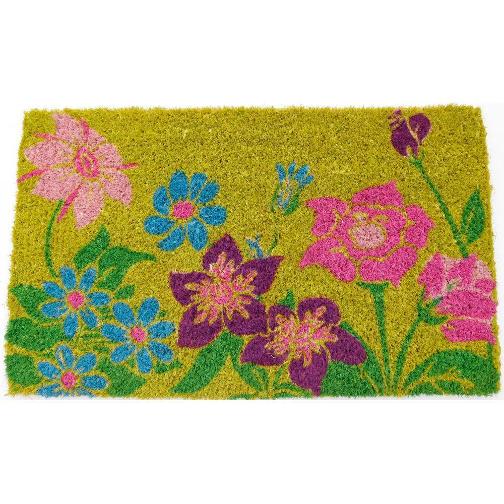 Wildflower Power 18 in. x 30 in. Hand Woven Coir Door Mat