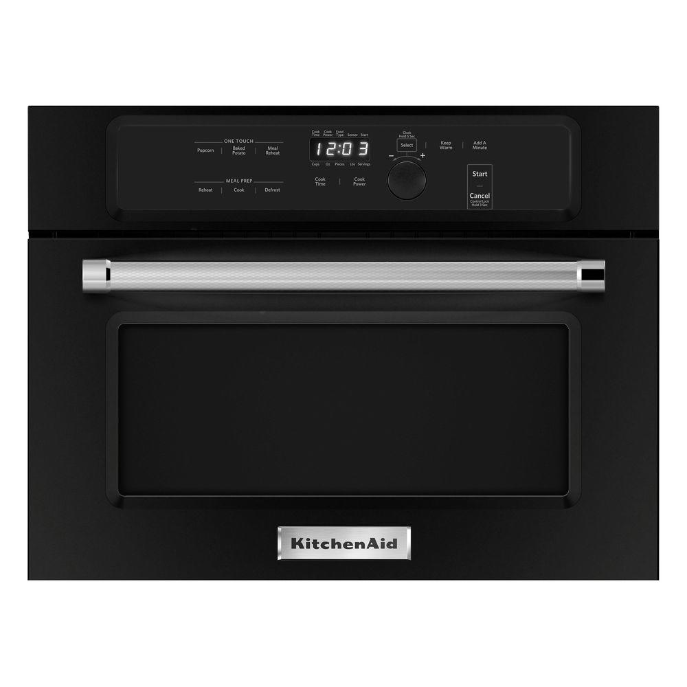 Kitchenaid 1 4 cu ft built in microwave in black for Kitchenaid microwave