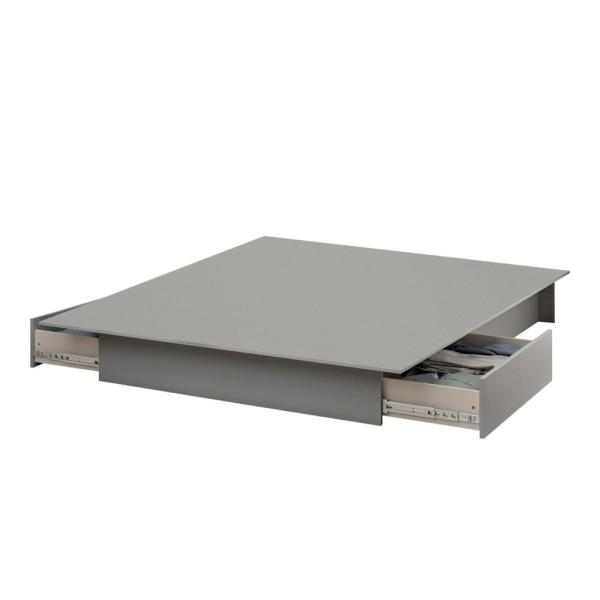 South Shore Step One Soft Gray Full/Queen Platform