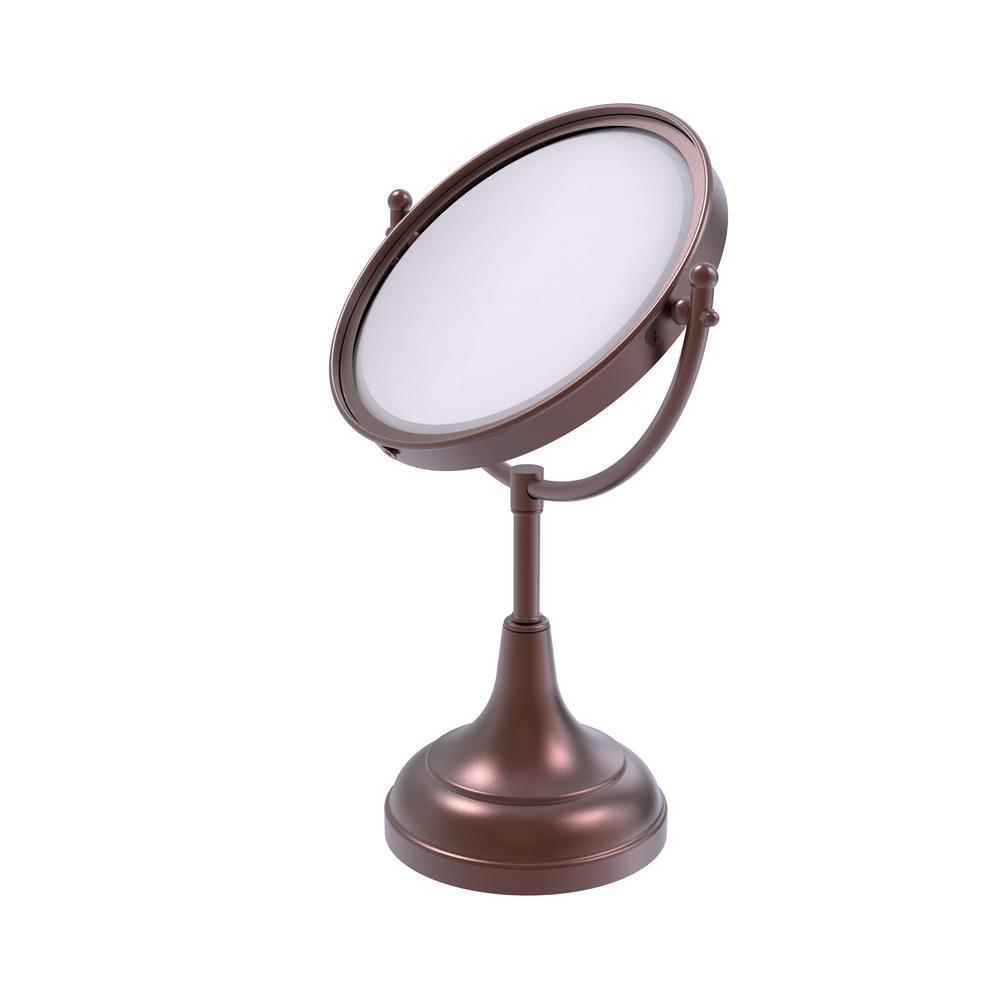 8 in. Vanity Top Single Makeup Mirror 4X Magnification in Antique Copper