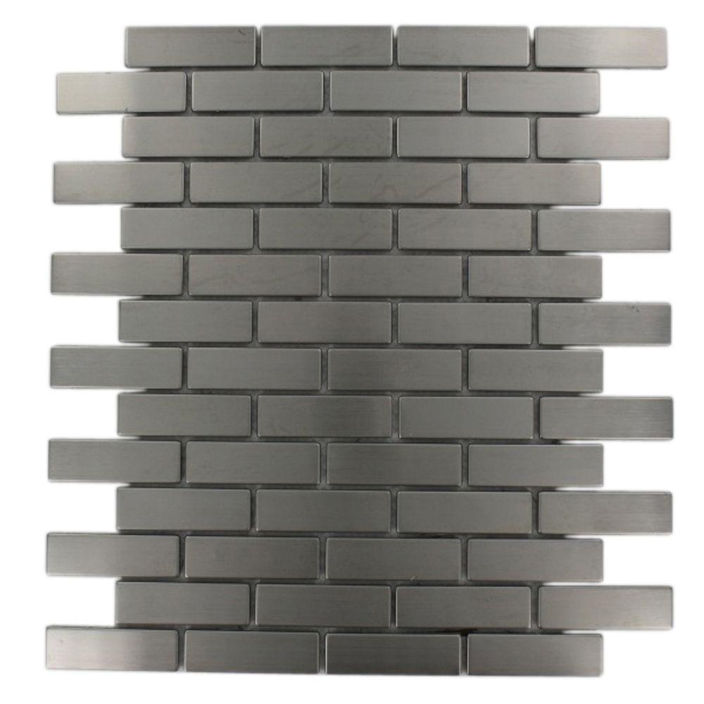 Ivy Hill Tile Stainless Steel Brick Pattern 12 in. x 12 in. x 8 mm Metal Mosaic Floor and Wall Tile