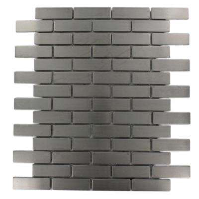 Stainless Steel Brick Pattern 12 in. x 12 in. x 8 mm Metal Mosaic Floor and Wall Tile