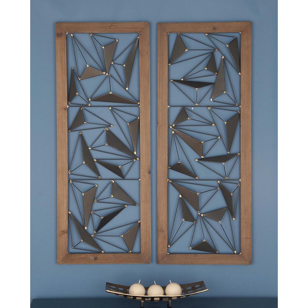 39 in. x 15 in. Abstract Triangles Wood and Iron Wall Art ...