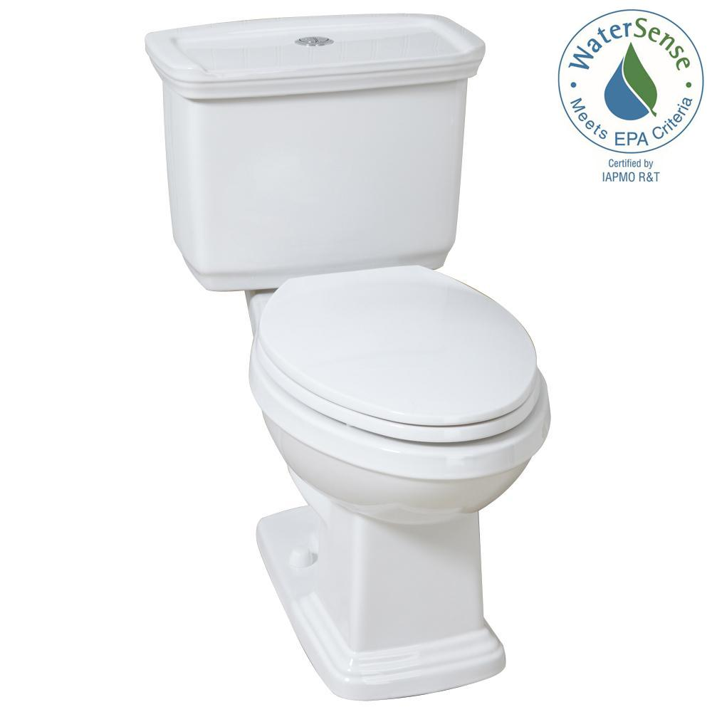 Glacier Bay 2-piece 1.0 GPF/1.28 GPF High Efficiency Dual Flush Elongated Toilet in White