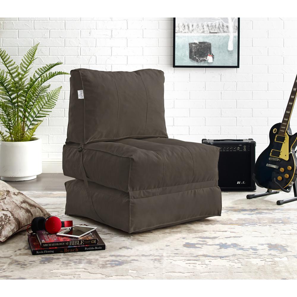 Cloudy Brown Bean Bag Lounger Chair Convertible Nylon Foam Sleeper