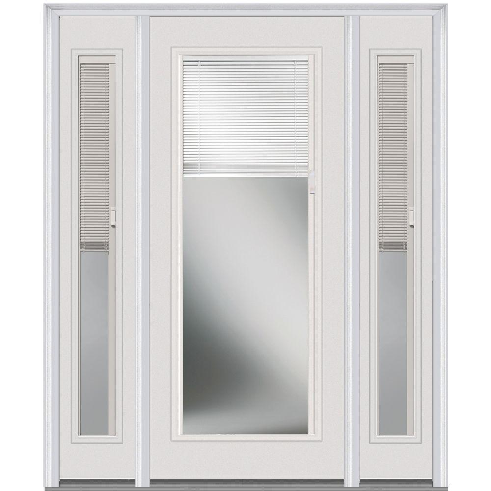 Mmi Door 60 In X 80 Internal Blinds Left Hand Inswing Full Lite Clear Painted Steel Prehung Front With Sidelites