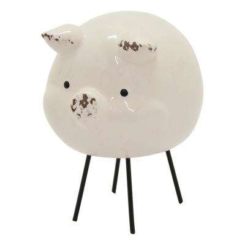 5.75 in. White Ceramic Pig Tabletop