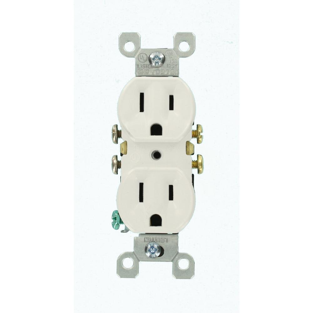 leviton 15 amp duplex outlet white 10 pack m24 05320 wmp the home depot. Black Bedroom Furniture Sets. Home Design Ideas