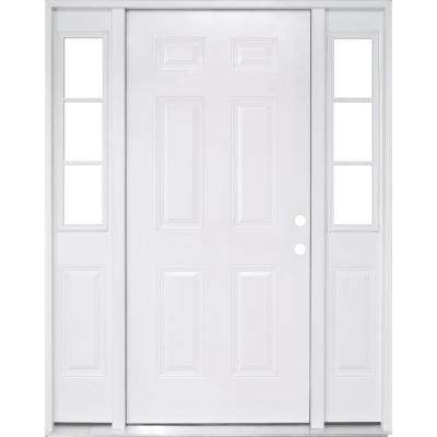 64 in. x 80 in. 6 Panel White Left Hand Primed Steel Prehung Front Door with 12 in. 3 Lite Sidelites 4-9/16 in. Frame