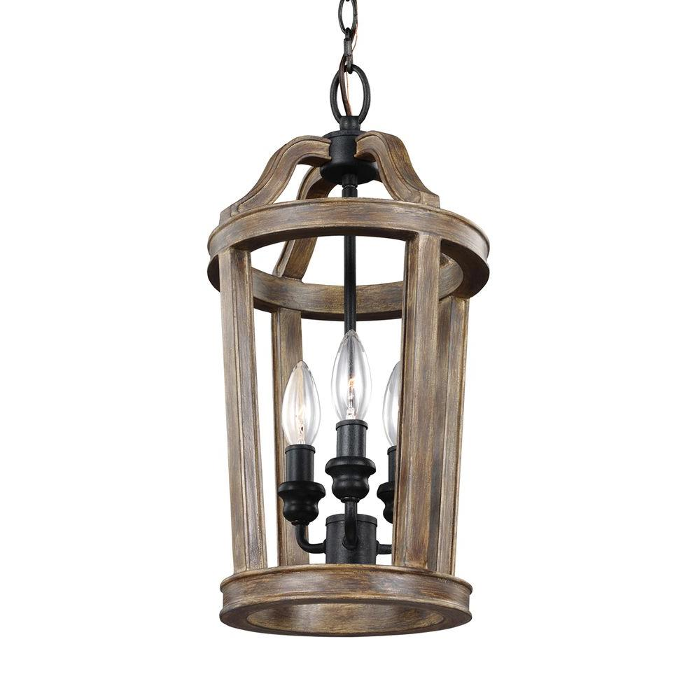 Lorenz 3-Light Weathered Oak Wood and Dark Weathered Zinc Mini Pendant