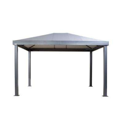 Monteserra 10 ft. x 12 ft. Light Gray Powder-Coated Metal Gazebo with Nylon Roof and Included Mosquito Netting