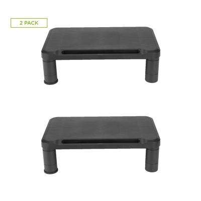Small Monitor Stand Riser for Monitors and Laptops, Black (2-Pack)