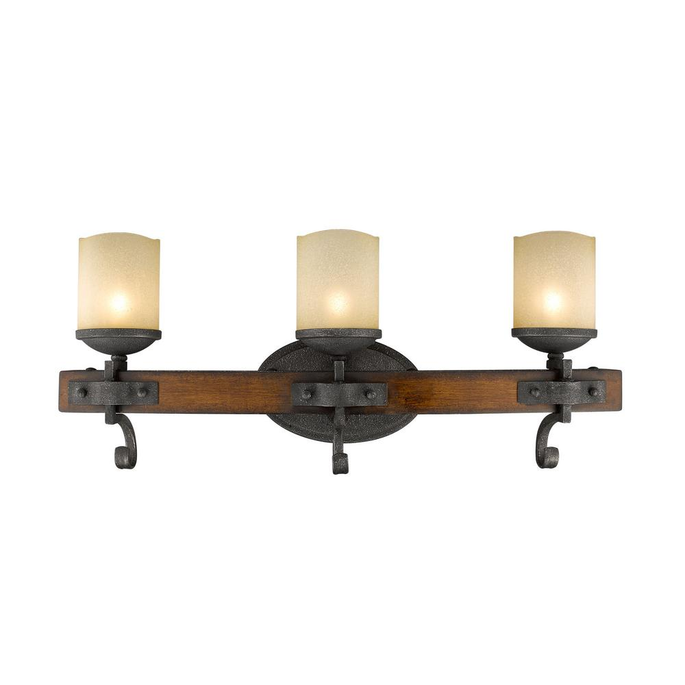Madera 3-Light Black Iron with Toscano Glass Bath Vanity Light