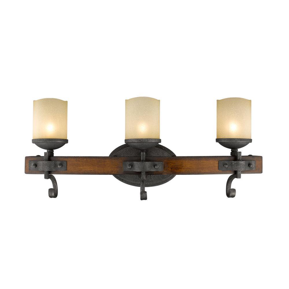 Madera 3-Light Black Iron with Toscano Glass Bath Vanity Light