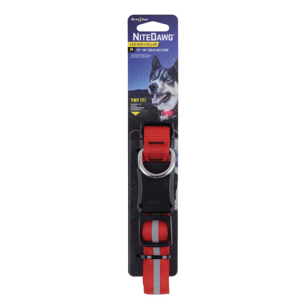 Nite Dawg LED Dog Collar-Medium-Red