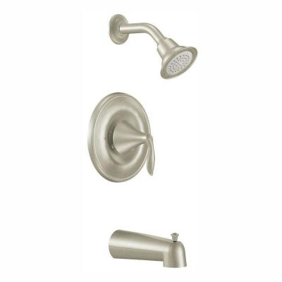 Eva 1-Handle Posi-Temp Tub and Shower Faucet Trim Kit with Eco-Performance in Brushed Nickel (Valve Not Included)