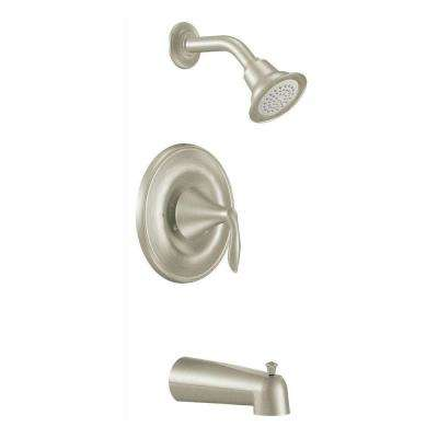 Eva 1-Handle Posi-Temp Tub and Shower Trim Kit with Eco-Performance Showerhead in Brushed Nickel (Valve Not Included)