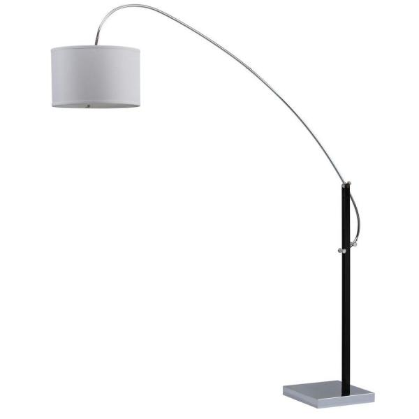 Lyra 84 in. Chrome/Black Arc Floor Lamp with Off-White Shade
