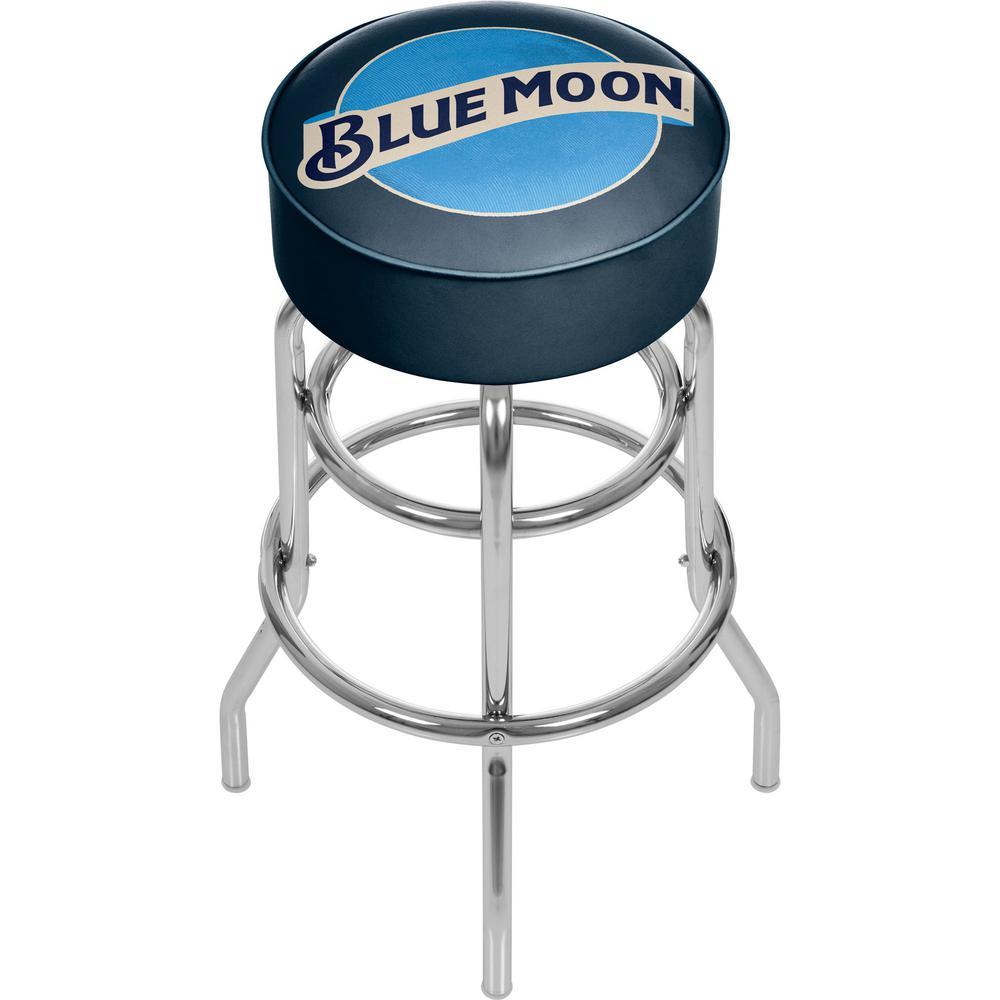 Blue Moon 31 in. Chrome Swivel Cushioned Bar Stool