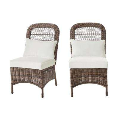 Beacon Park Brown Wicker Outdoor Patio Armless Dining Chair with Bare Cushions (2-Pack)