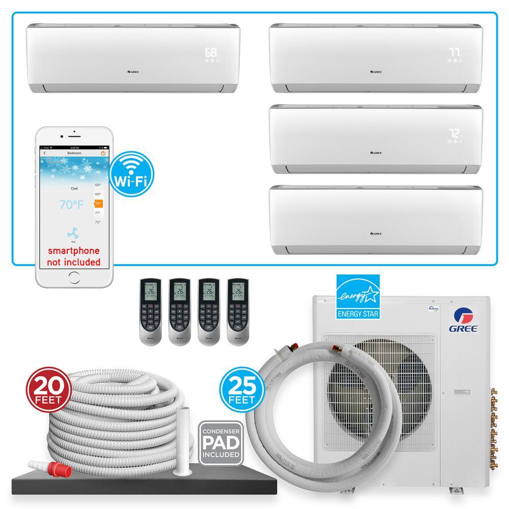 GREE Multi-21 Quad Zone 35826 BTU Wi-Fi Ductless Mini Split Air Conditioner  & Heat Pump with 25 ft  Install Kit-230V/60Hz