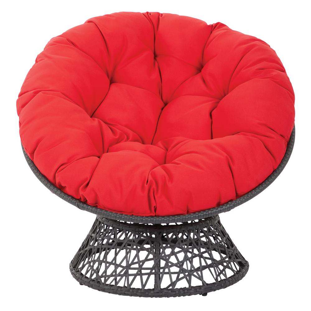 OSP Home Furnishings Papasan Chair with Red Cushion and Black Frame OSP Home Furnishings Papasan Chair with Red Cushion and Black Frame