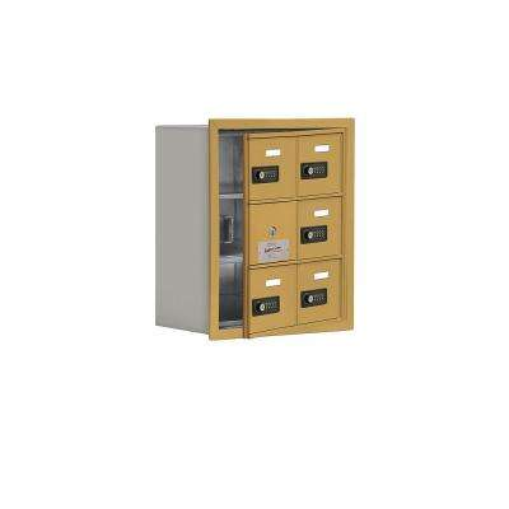 19100 Series 16.25 in. W x 18.75 in. H x 8.75 in. D 5 Doors Cell Phone Locker Recess Mount Resettable Lock in Gold