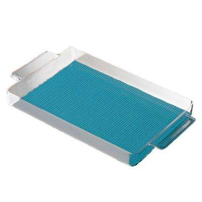 Fishnet Teal Rectangular Serving Tray