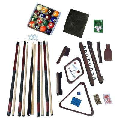 Deluxe Billiards Accessory Kit with Mahogany Finish