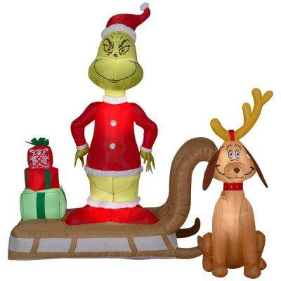 6 ft. Pre-lit Inflatable Grinch and Max on Sled Scene