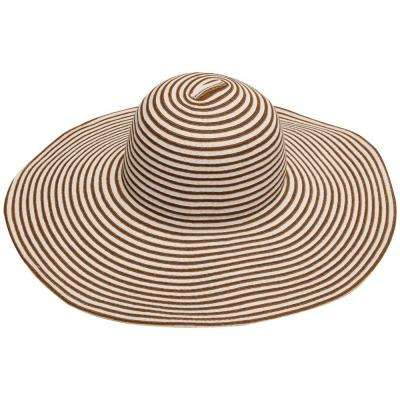 Wide Brim Brown/Beige Stripe Ladies Hat