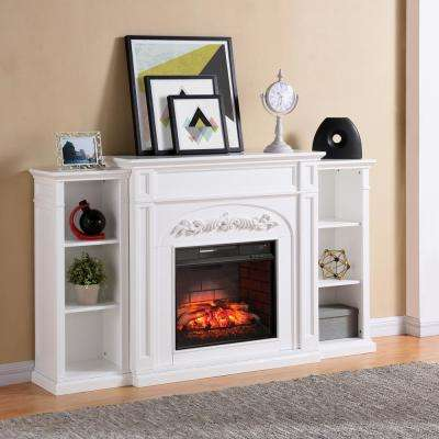 Binghamton 72.5 in. W Bookcase Infrared Electric Fireplace in White