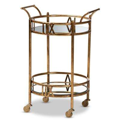Bellamy Antique Gold 2-Tier Mobile Bar Cart