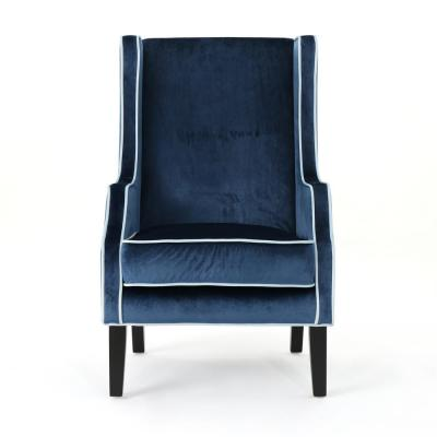 Eddison Traditional Cobalt Velvet Club Chair with Light Blue Accent Piping