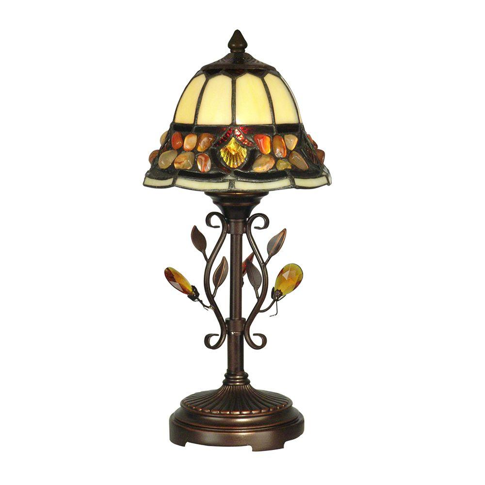 15.25 in. Pebble Stone Antique Golden Sand Accent Lamp