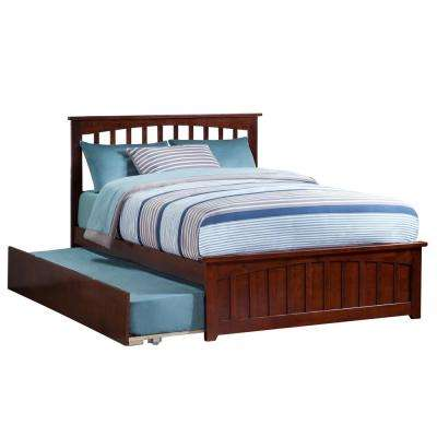 Mission Walnut Full Platform Bed with Matching Foot Board with Twin Size Urban Trundle Bed