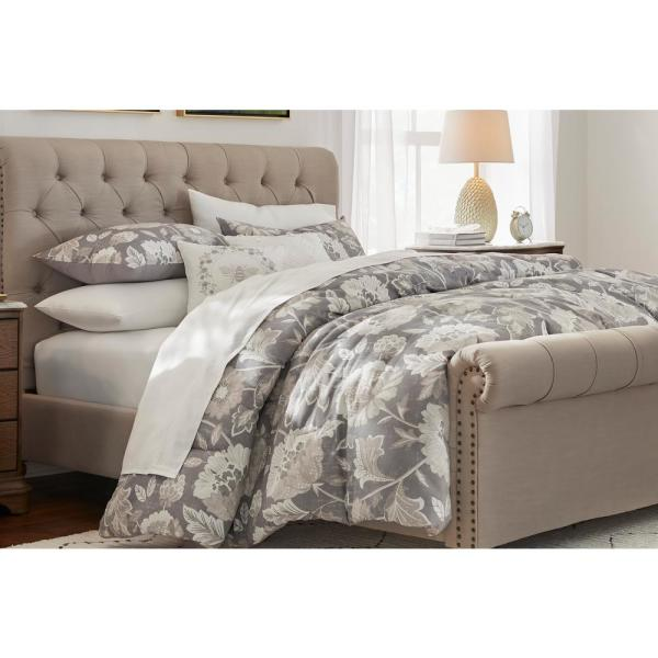 Larkspur 5-Piece Stone Gray and Khaki Cotton Queen Comforter Set