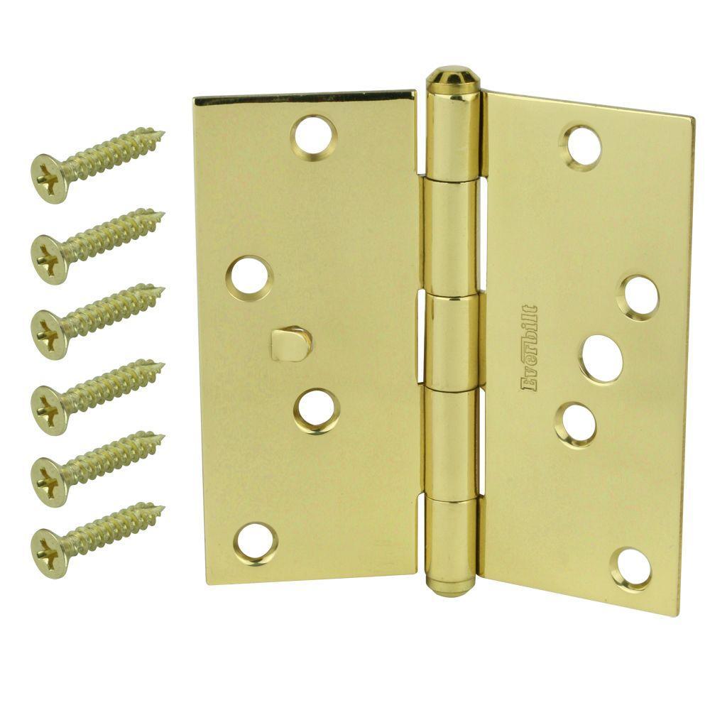 4 in. Solid Brass Square Corner Security Door Hinge