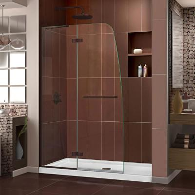 Aqua Ultra 45 in. W x 72 in. H Frameless Hinged Shower Door in Oil Rubbed Bronze