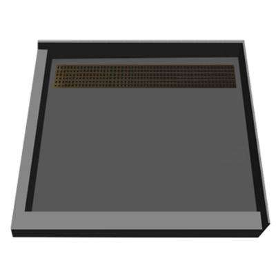 48 in. x 48 in. Double Threshold Shower Base with Back Drain in Gray and Oil Rubbed Bronze Trench Grate