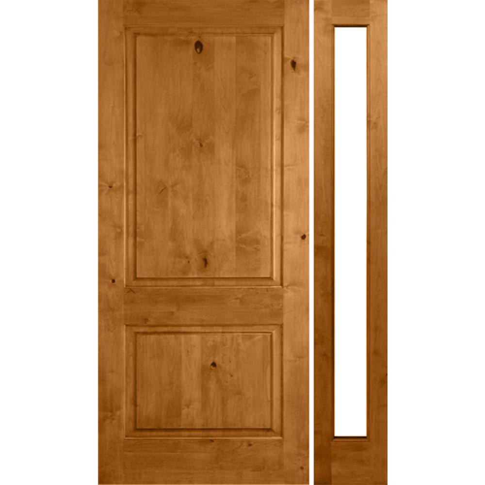 Krosswood Doors 46 in. x 80 in. Rustic Unfinished Knotty Alder Square-Top Left-Hand Right Full Sidelite Clear Glass Prehung Front Door