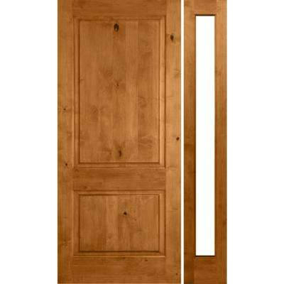 50 in. x 80 in. Rustic Alder Square Top Clear Low-E Unfinished Wood Right-Hand Prehung Front Door/Right Full Sidelite