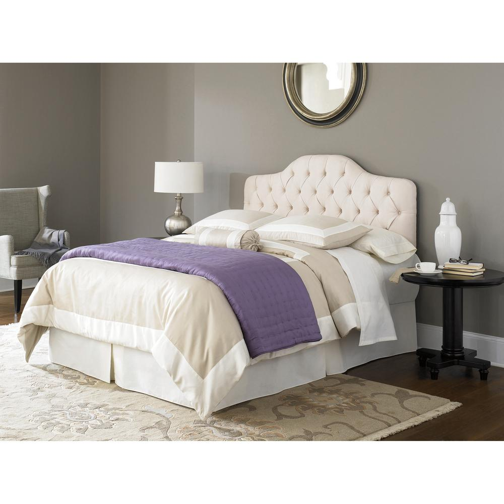 Fashion bed group martinique ivory twin upholstered adjustable solid wood headboard panel with button tufted design b72123 the home depot