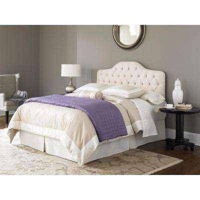 Martinique Ivory King/California King Upholstered Adjustable Solid Wood Headboard Panel with Button-Tufted Design