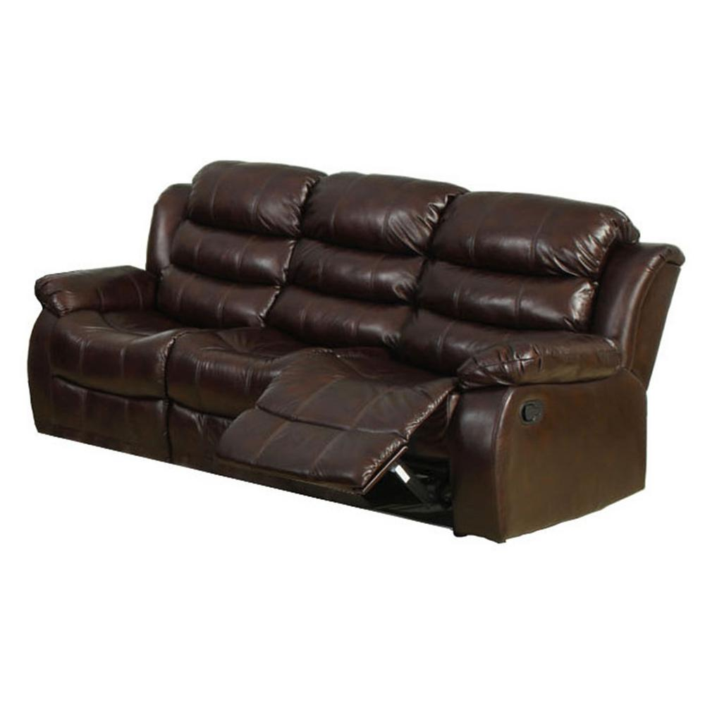 Furniture of America Berkshire Dark Brown Faux Leather Sofa CM6551-S ...