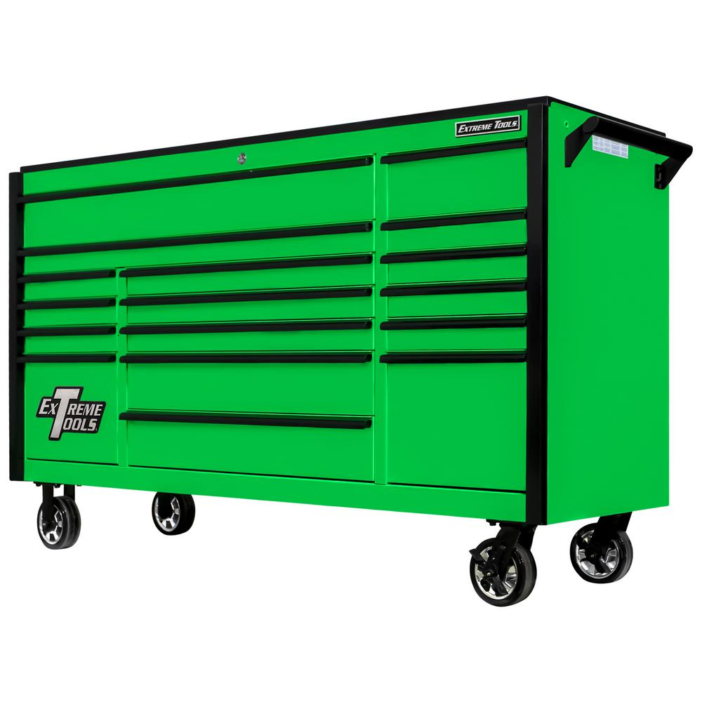 Extreme Tools DX Series 72 in. 17-Drawer Roller Cabinet Tool Chest with Mag Wheels in Green with Black Drawer Pulls